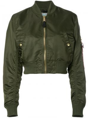 Cropped bomber jacket Alpha Industries. Цвет: зелёный