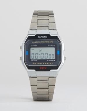 Casio Серебристые цифровые наручные часы A163WA-1QES. Цвет: серебряный