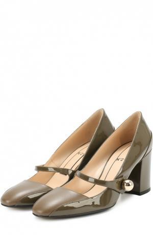 Кожаные туфли с декорированным ремешком No. 21. Цвет: хаки