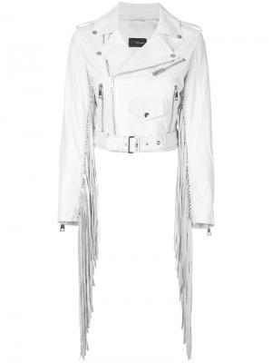 Байкерская куртка с бахромой Manokhi. Цвет: белый