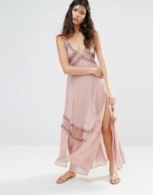 The Jetset Diaries Платье-комбинация с вышивкой Las Perlas. Цвет: розовый