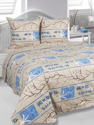 Комплект постельного белья Сакура Тет-а-Тет. Цвет: бежевый, розовый, синий