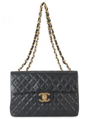 Сумка с цепочной отделкой Chanel Vintage. Цвет: чёрный