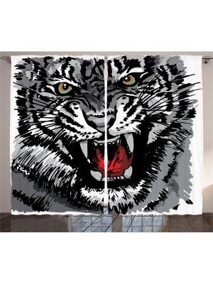 Комплект фотоштор Оскал тигра, 290*265 см Magic Lady. Цвет: черный, красный, серый