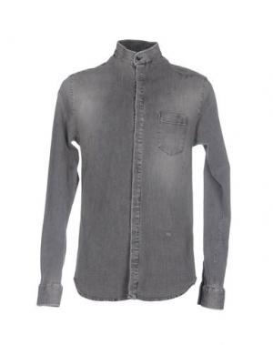 Джинсовая рубашка PIERRE BALMAIN. Цвет: серый