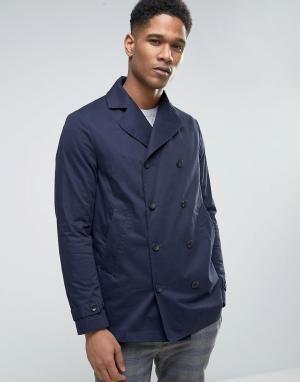Sisley Двубортное пальто-бушлат на вощеной подкладке. Цвет: темно-синий