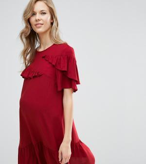 ASOS Maternity Платье с заниженной талией и оборками для беременных. Цвет: фиолетовый