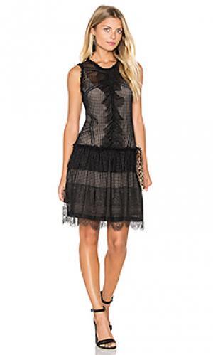 Платье из полупрозрачной ткани с рисунком avery Marissa Webb. Цвет: черный