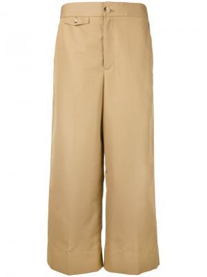 Укороченные широкие брюки Helmut Lang. Цвет: коричневый