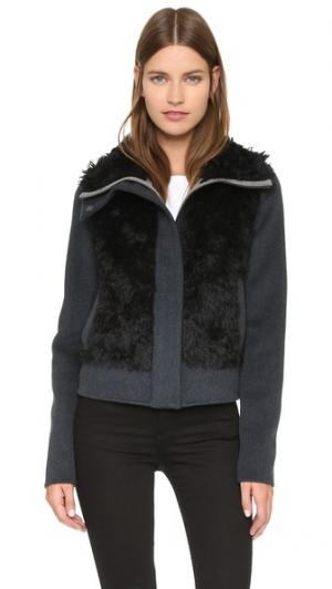 Шерстяная куртка со вставками из мохера Tess Giberson. Цвет: серый/светло-серый