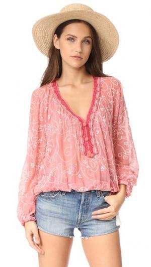 Блуза в деревенском стиле с вышивкой и узором «павлиний глаз» Love Sam. Цвет: пунш