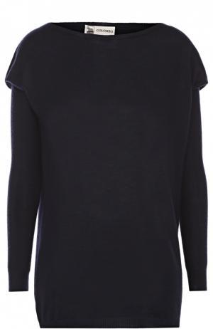 Удлиненный кашемировый пуловер с вырезом-лодочка Colombo. Цвет: темно-синий