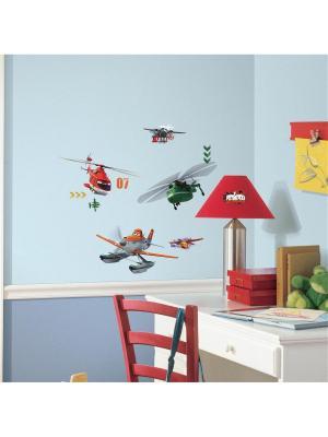 Наклейки для декора Дисней: Самолеты, спасатели ROOMMATES. Цвет: белый, черный, синий, зеленый, серый, голубой, красный, оранжевый, желтый