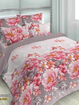 Комплект постельного белья, 2,0-сп, бязь, пододеяльник на молнии Letto. Цвет: розовый, серый, бежевый