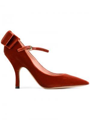 Туфли-лодочки с бантом Rochas. Цвет: красный