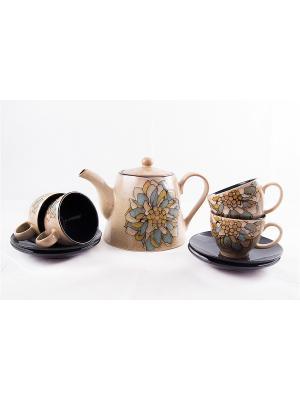 Чайный набор на 4 персоны: чайник, чашки, блюдца Русские подарки. Цвет: бежевый, голубой