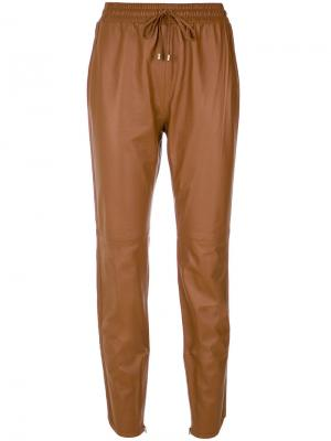 Leather straight trousers Nk. Цвет: коричневый
