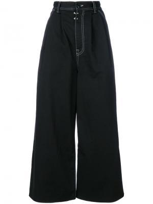 Укороченные брюки клеш Mm6 Maison Margiela. Цвет: чёрный