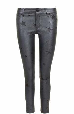Кожаные брюки-скинни с принтом в виде звезд RTA. Цвет: серый