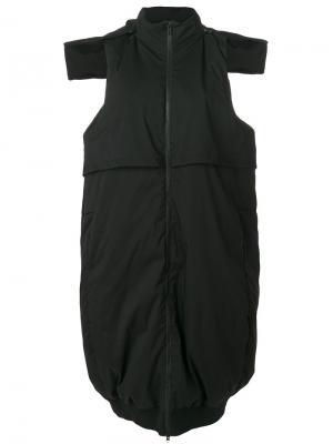 Пуховое пальто без рукавов Y-3. Цвет: чёрный
