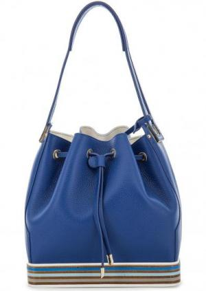 Кожаная сумка с длинной ручкой Gironacci. Цвет: синий