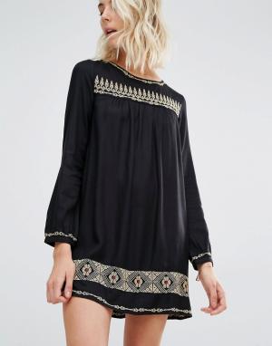Gat Rimon Платье мини с длинными рукавами и вышивкой Rene. Цвет: черный