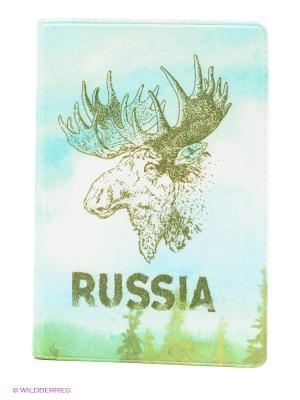 Визитница Лось Mitya Veselkov. Цвет: голубой, зеленый