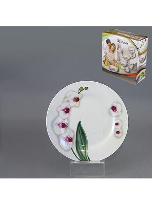 Тарелка десертная ВЕТКА ОРХИДЕИ 19 см SAGURO. Цвет: белый