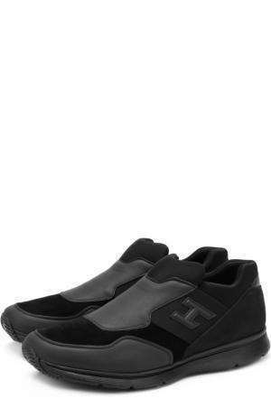 Комбинированные кроссовки без шнуровки Hogan. Цвет: черный
