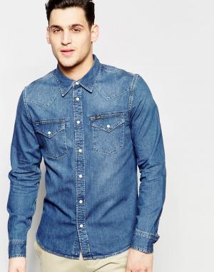 Lee Синяя джинсовая рубашка слим в стиле вестерн. Цвет: синий