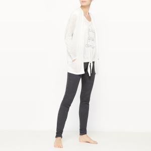 Пижама из 3 предметов La Redoute Collections. Цвет: серый/ белый
