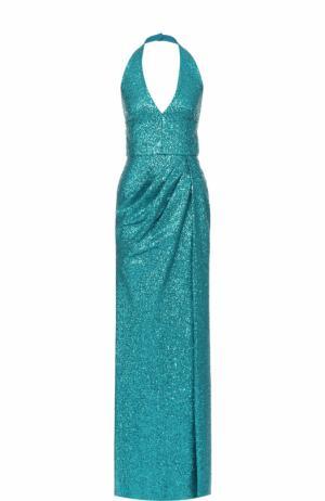 Платье-макси с открытой спиной и пайетками Elie Saab. Цвет: бирюзовый