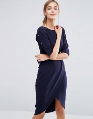 Closet London Платье-футляр с запахом спереди. Цвет: темно-синий