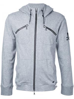 Толстовка на молнии с карманами и капюшоном Loveless. Цвет: серый