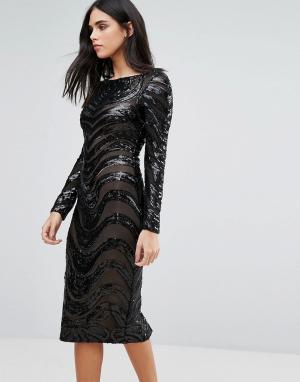 Forever Unique Облегающее платье с длинными рукавами и отделкой. Цвет: черный