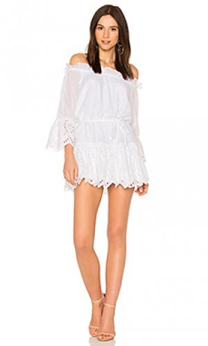 Платье со спущенными плечами hold on Suboo. Цвет: белый