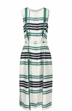 Платье-макси с поясом и принтом Oscar de la Renta. Цвет: зеленый