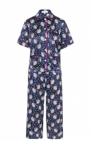 Шелковый пижамный комплект с контрастным принтом Olivia Von Halle. Цвет: разноцветный