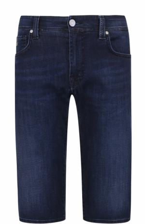 Удлиненные джинсовые шорты с контрастной прострочкой Sartoria Tramarossa. Цвет: темно-синий