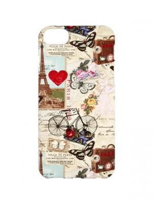 Чехол для iPhone 7 Путешествие в Париж Арт. IP7-396 Chocopony. Цвет: бежевый, голубой, красный