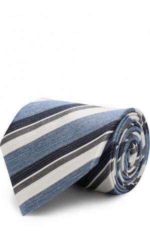 Шелковый галстук в полоску Brioni. Цвет: голубой