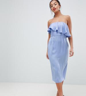 ASOS Petite Платье-футляр с укороченным лифом-бандо DESIGN. Цвет: фиолетовый