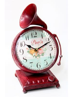 Часы Граммофон настольные кварцевые 17x17x27,5 Magic Home. Цвет: красный