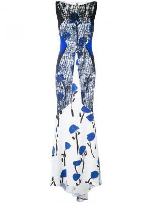 Длинное платье с вышивкой Talbot Runhof. Цвет: белый
