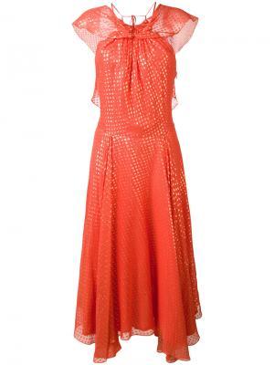 Платье в горох кроя бабочка Daizy Shely. Цвет: красный