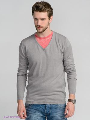 Пуловер Solid. Цвет: серый