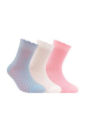Носки BRAVO 14С-13СП, комплект 3 пары Conte Kids. Цвет: белый, фиолетовый, розовый