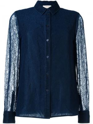 Кружевная рубашка Tory Burch. Цвет: синий