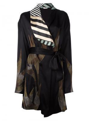 Атласное кимоно с вышивкой Attico. Цвет: чёрный