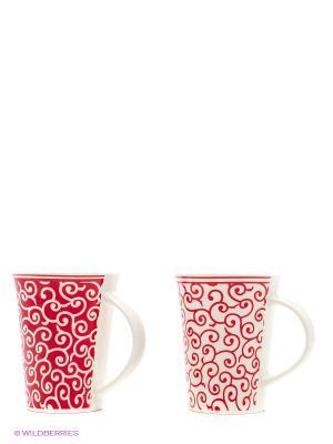 Набор кружек Арабески бело-красные Elan Gallery. Цвет: красный, белый